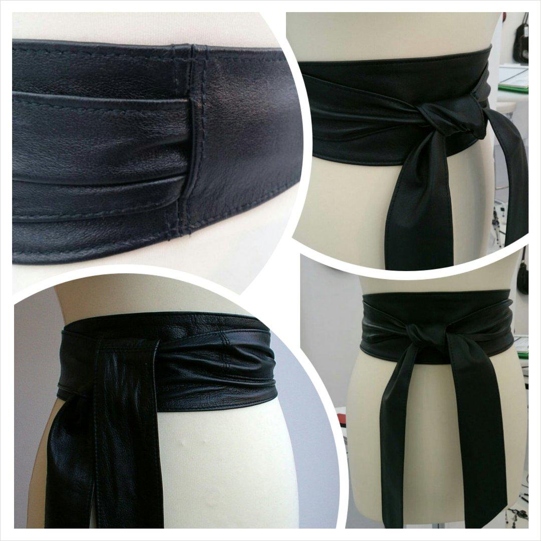 black handmade leather obi sash wrap tie belt poltsa