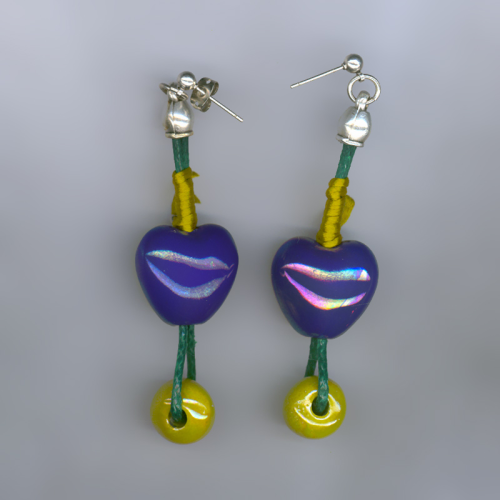 Handmade earrings with ceramic beads