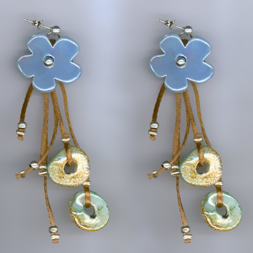 Handmade earrings with blue ceramic flowers