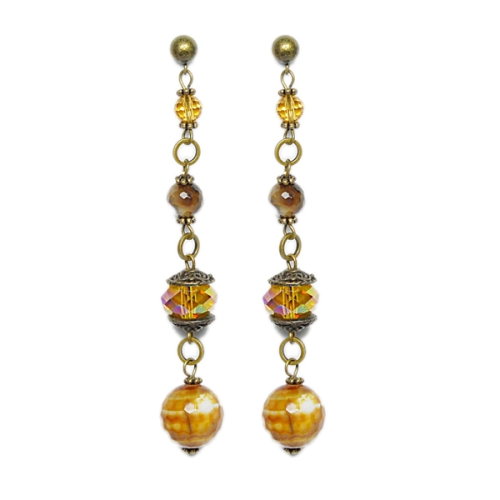 Crystal and agate handmade earrings