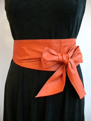 Orange Handmade Leather Obi Sash Wrap Tie Belt Poltsa