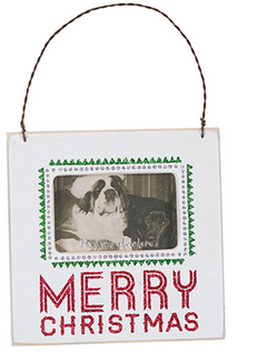 Merry Christmas Photo Frame Easel / Wall Plaque