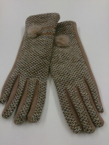 Beige Ladies Gloves with Pom-Pom