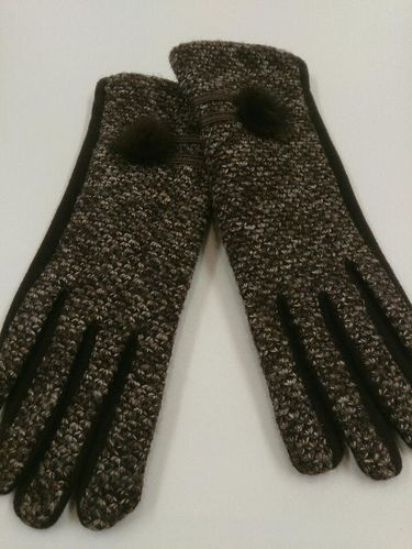 Brown Ladies Gloves with Pom-Pom