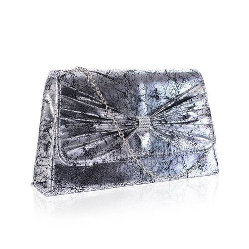 Silver Vintage Envelope Clutch Bag Diamante Bow Faye London