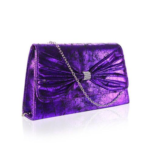 Purple Vintage Envelope Clutch Bag Diamante Bow Faye London