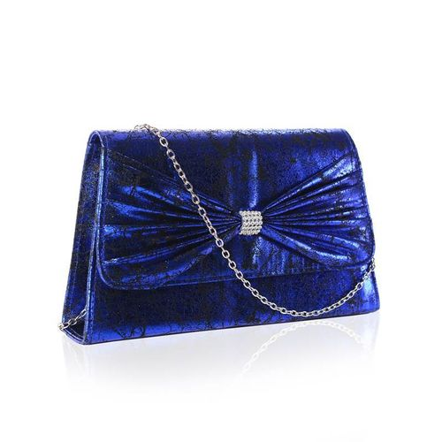 Royal Blue Vintage Envelope Clutch Bag Diamante Bow Faye London