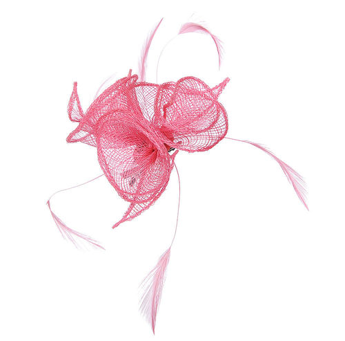 Small Coral Pink Flower Fascinator Hair Clip / Brooch