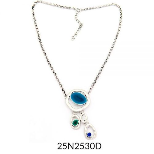 Small Drop Necklace Silver Turquoise Enamel