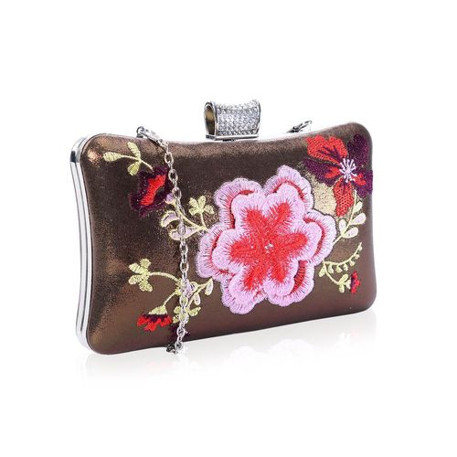 Embroidered Hard Clutch Diamante Clasp Handbag Vintage Faye London
