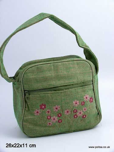 Small Green Embroidered Handbag Front Pocket Top Zip Closure SALE REDUCED CLEARANCE