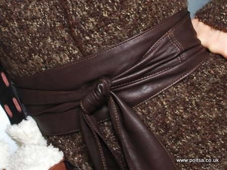 Dark Chocolate Brown Handmade Leather Obi Sash Wrap Tie Belt