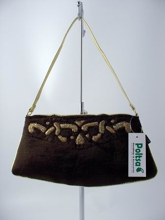 Brown and Gold Faux Velvet Occasion Handbag