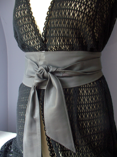 Grey Handmade Leather Obi Sash Wrap Tie Belt