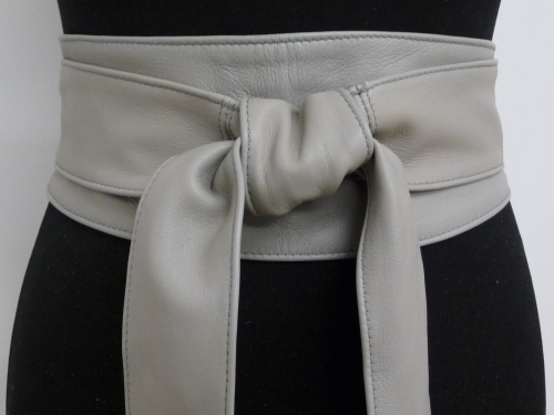 Light Grey Handmade Leather Obi Sash Wrap Tie Belt