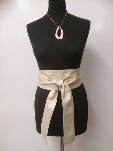 Cream Handmade Leather Obi Belt - Sash Belt with metallic finish