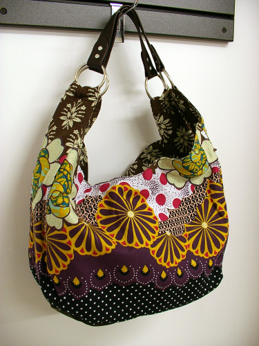 SALE REDUCED Floral Multi Cotton Hobo Double Sided Handbag with Two Shoulder Straps