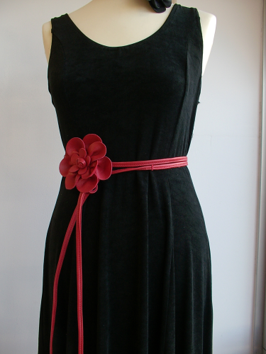 Red leather corsage belts flower belts tie belts handmade in Spain