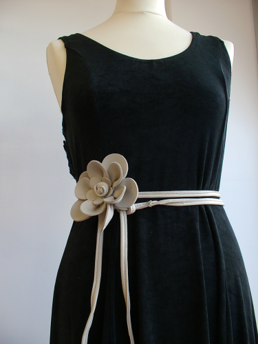 Cream skinny leather belt with handmade flower or corsage