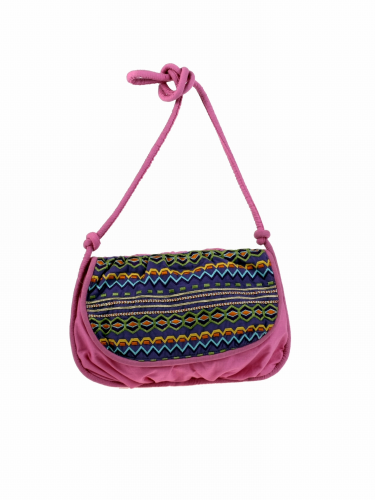 SALE Small Pink Purple Boho Shoulder Bag Satchel Flap