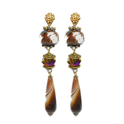 Brown marbled agate dangle earrings