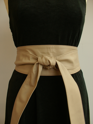 Beige Handmade Leather Obi Sash Wrap Tie Belt