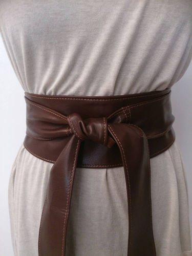 Brown Handmade Leather Obi Sash Wrap Tie Belt