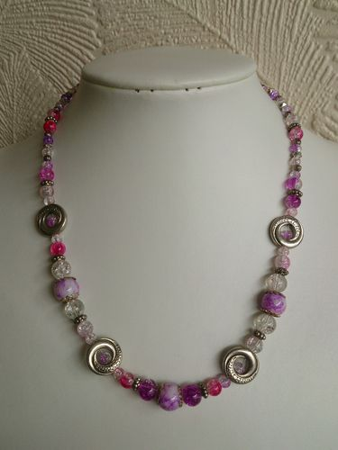 Silver Plated Swirls and Glass Pink Beaded Necklace