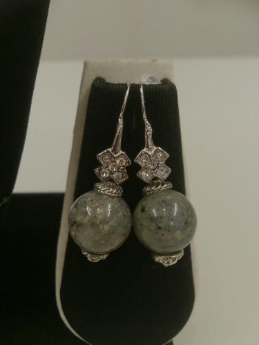 Handmade Earrings Beads Grey Silver L301660