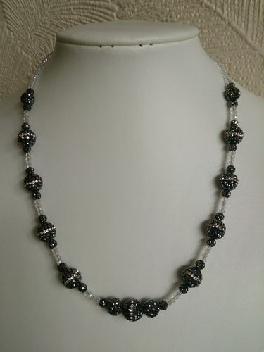 Hematite Gemstones and Crystal Beaded Necklace