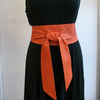 Orange Handmade Leather Obi Sash Wrap Tie Belt