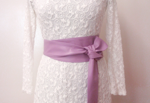 Lavender Handmade Leather Obi Sash Wrap Tie Belt
