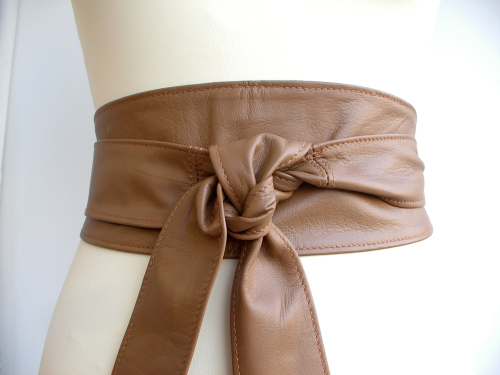 Tan Handmade Leather Obi Sash Wrap Tie Belt