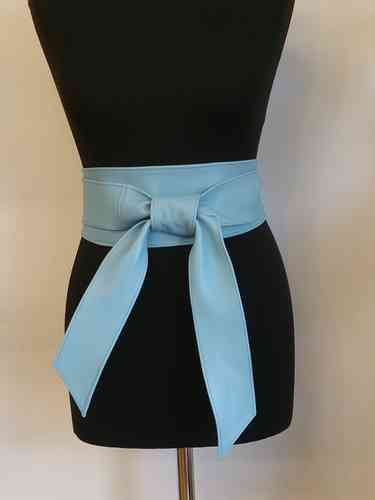 Pale Blue Handmade Leather Obi Sash Wrap Tie Belt