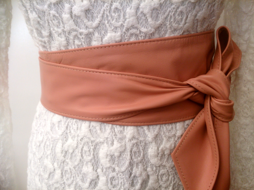 Antique Rose Dusky Pink Handmade Leather Obi Sash Wrap Tie Belt