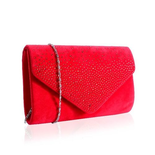 Red Diamante Embellished Velvet Envelope Clutch Faye London