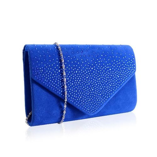 Royal Blue Diamante Embellished Velvet Envelope Clutch Faye London