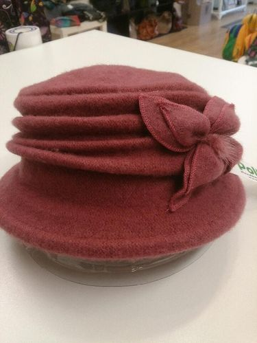 Dusky Pink Winter Hat with Flower