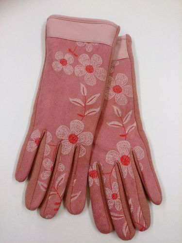Pink Floral Ladies Gloves