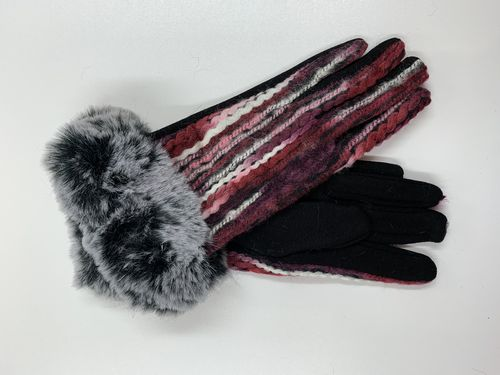 Red Winter Gloves with Faux Fur Cuff
