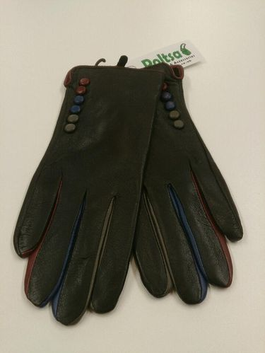 Black Leather Ladies Gloves with Multicolour Fingers