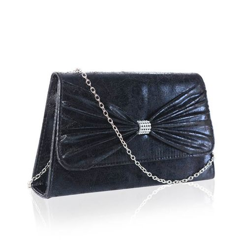 Black Vintage Envelope Clutch Bag Diamante Bow Faye London