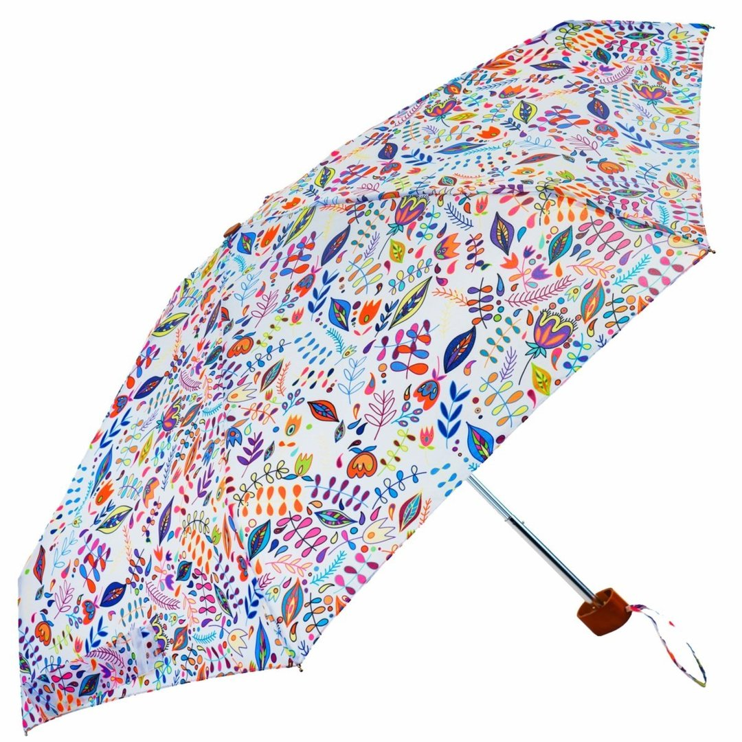 White Floral Folk Print Ladies Mini Compact Umbrella