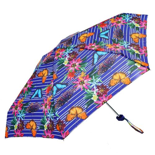 Purple Botanic Floral Print Ladies Mini Compact Umbrella