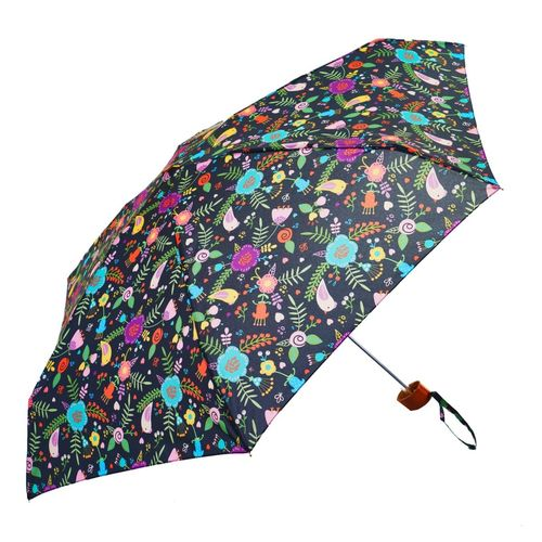 Black Floral Folk Ladies Mini Compact Umbrella