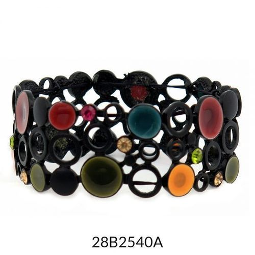 Multicolour Wide Stretch Enamel Bracelet