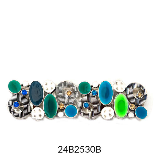 Wide Stretch Bracelet Silver Turquoise