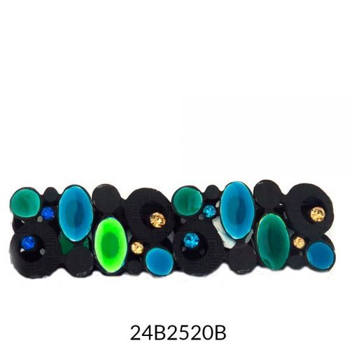 Wide Stretch Bracelet Black Turquoise
