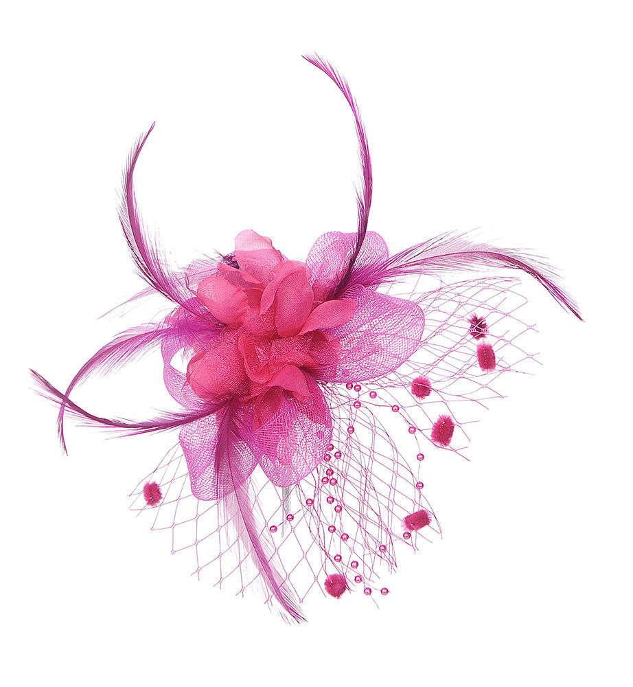 Fuchsia Hot Pink Flower Fascinator Hair Clip Brooch Poltsa Boutique