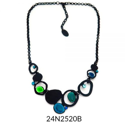 Necklace Black Turquoise Enamel